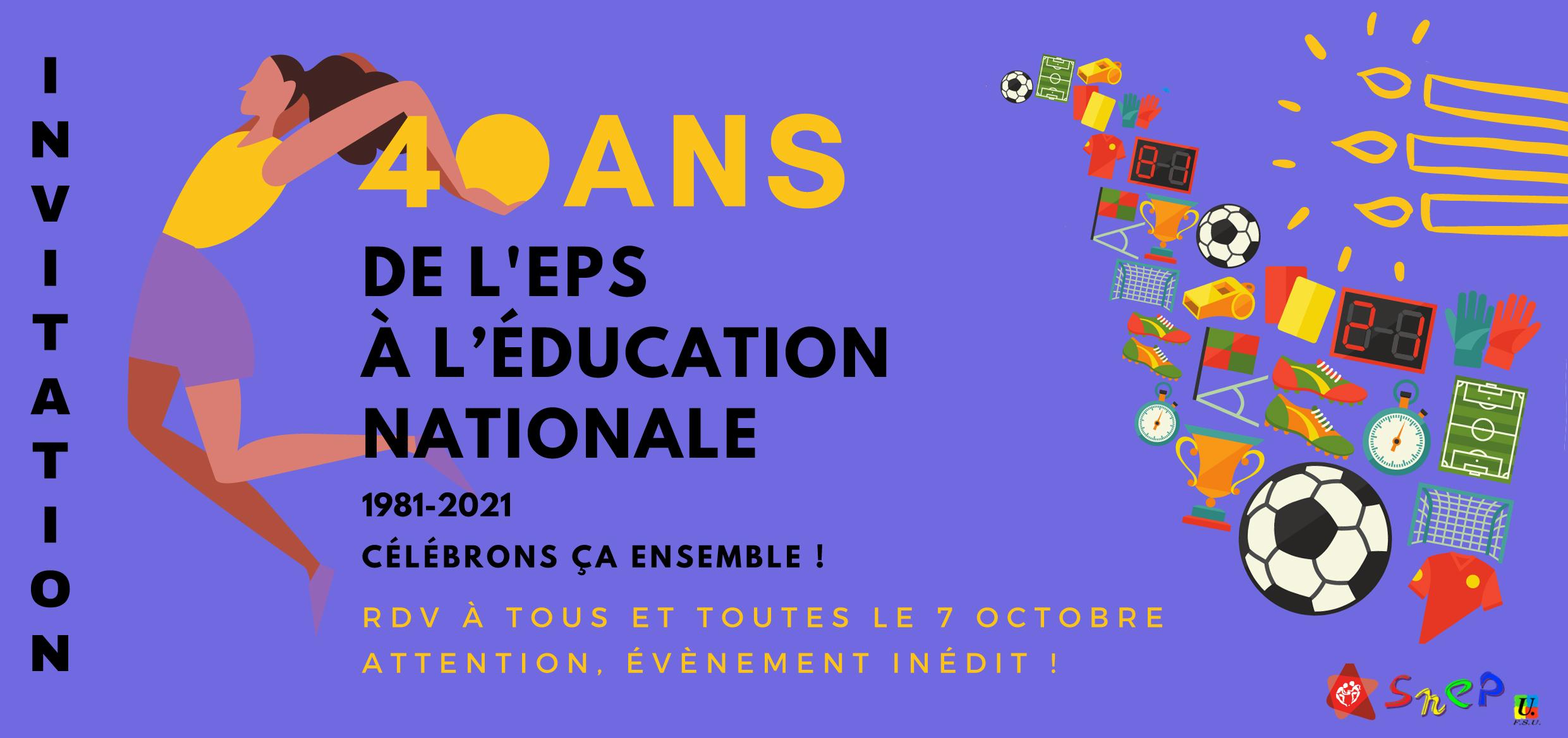 Jeudi 7 octobre, 40 ans de l'EPS au ministère de l'éducation nationale : participez en visio